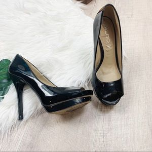 Aldo Black Peep Toe Patent Leather High Heel Pumps